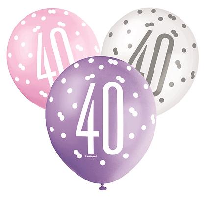 Pink, Purple & White Glitz 40th Birthday Latex Balloons 6pk
