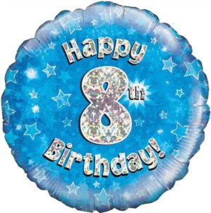 """18"""" Blue Holographic 8th Birthday Foil Balloon"""