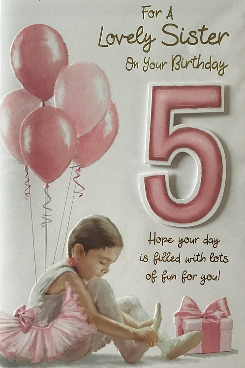 Sister's 5th Birthday Card