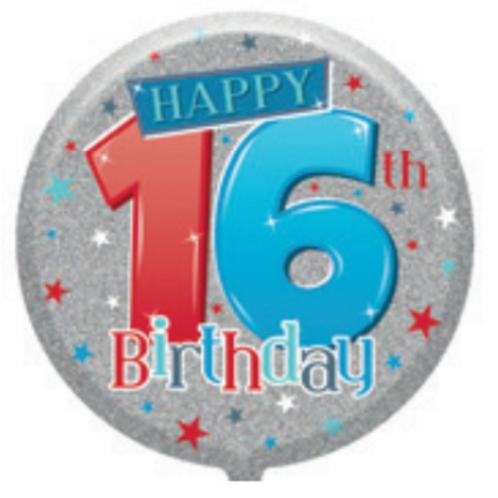 "16th Birthday Male 18"" Foil Balloon"