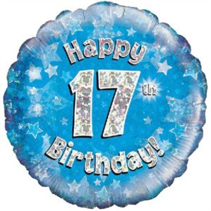 """18"""" Blue Holographic 17th Birthday Foil Balloon"""
