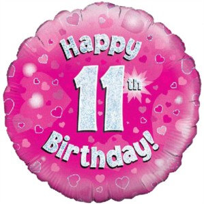 """18"""" Pink Holographic 11th Birthday Foil Balloon"""