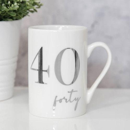 40th Milestones Bone China 11oz Mug with Silver Foil