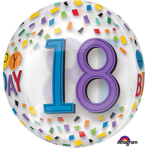 """18th Birthday Rainbow Clear Orbz 16"""" Foil Balloon (Deflated)"""