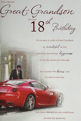 Great Grandson's 18th Birthday Card