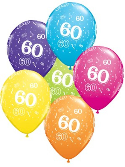 "Age 60 Latex 11"" Balloons 6pk"