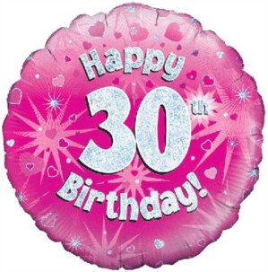"""18"""" Pink Holographic 30th Birthday Foil Balloon"""
