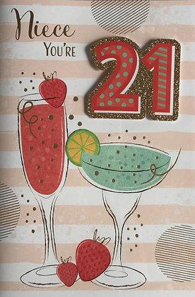 Niece's 21st Birthday Card