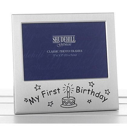 Satin Silver Occasion Frame My First Birthday 5x3