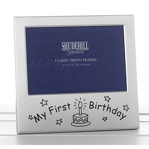 Satin Silver Occasion Frame My First Birthday 5x3