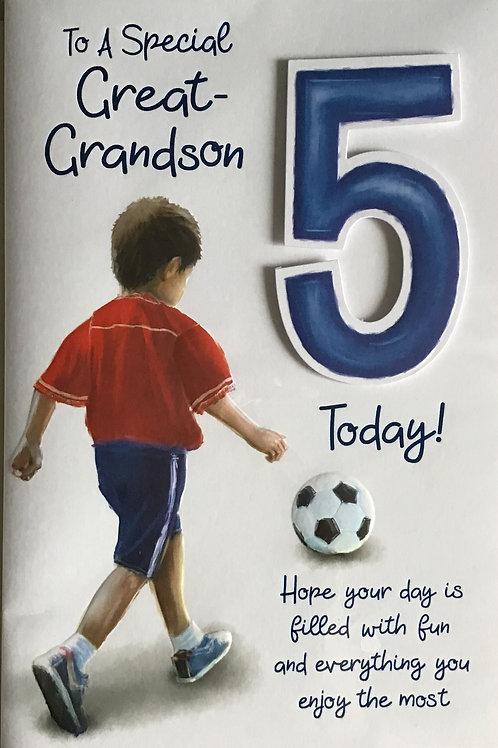 Great Grandson's 5th Birthday Card