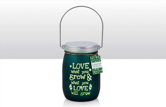 LED Love What You Grow Garden Glass Jar