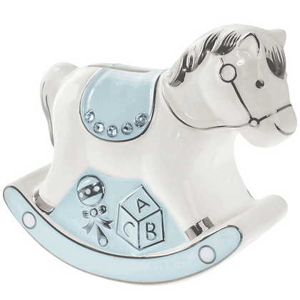 Blue Rocking Horse Ceramic Money Bank