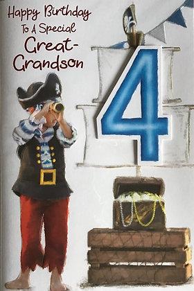 Great Grandson's 4th Birthday Card