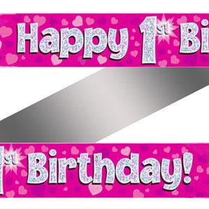 Ages 1 to 15 Birthday Pink Holographic Banner