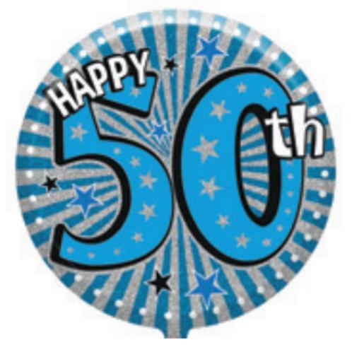 "50th Birthday Male 18"" Foil Balloon (Deflated)"