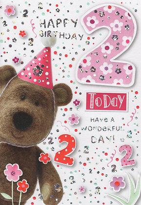 Barley Bear 2nd Birthday Card
