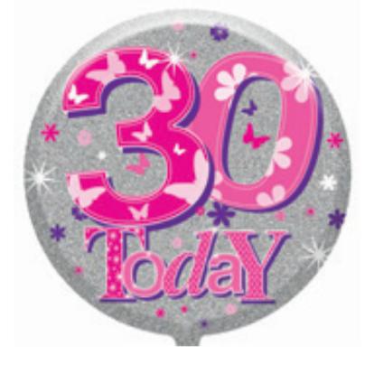 "30th Birthday Female 18"" Foil Balloon (Deflated)"