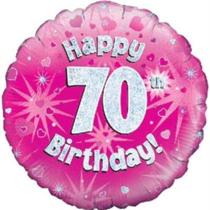 """18"""" Pink Holographic 70th Birthday Foil Balloon (Deflated)"""