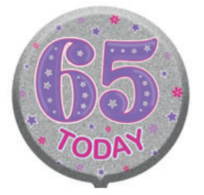 "65th Birthday Female 18"" Foil Balloon"
