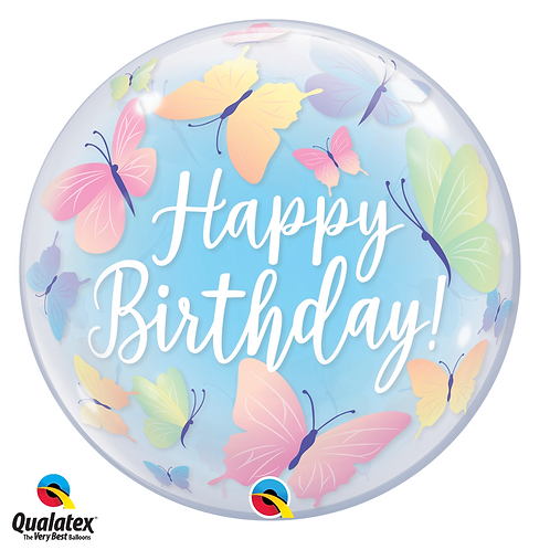"Happy Birthday Butterfly Bubble Balloon 22"" (Deflated)"