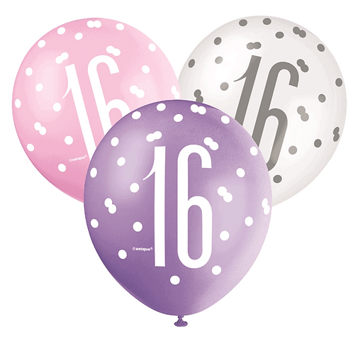 Pink, Purple & White Glitz 16th Birthday Latex Balloons 6pk