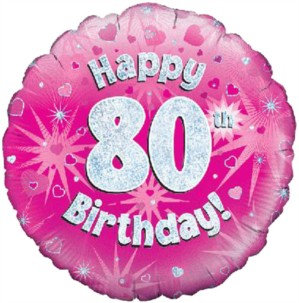 """18"""" Pink Holographic 80th Birthday Foil Balloon"""