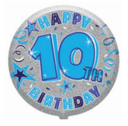 "10th Birthday Male 18"" Foil Balloon"
