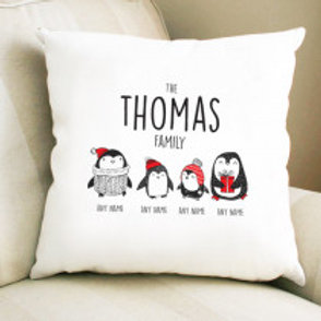 Personalised Christmas Penguin Two Children Cushion