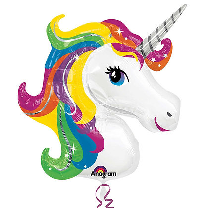 "Rainbow Unicorn Head 33"" Supershape Foil Balloon (Deflated)"