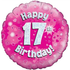 """18"""" Pink Holographic 17th Birthday Foil Balloon (Deflated)"""