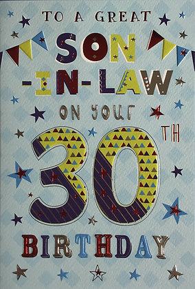 Son In Law's 30th Birthday Card