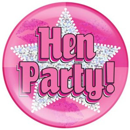 Pink Hen Party Holographic Jumbo Badge (15.2cm)
