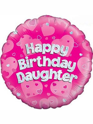 """18"""" Pink Holographic Daughter Foil Balloon"""
