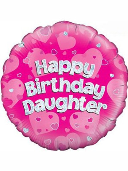 """18"""" Pink Holographic Daughter Foil Balloon (Deflated)"""
