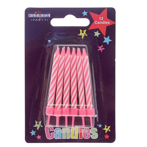 12 Pk Pink Candles