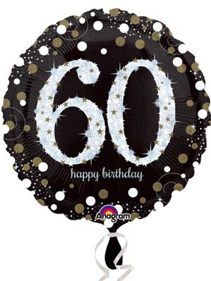 "60th Birthday Black and Gold Celebration 18"" Foil Balloon"