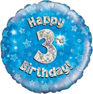 """18"""" Blue Holographic 3rd Birthday Foil Balloon"""