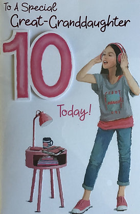 Great Granddaughter's 10th Birthday Card
