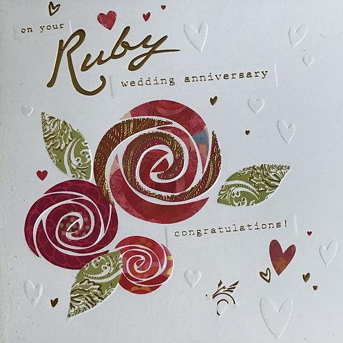 Ruby Anniversary Card