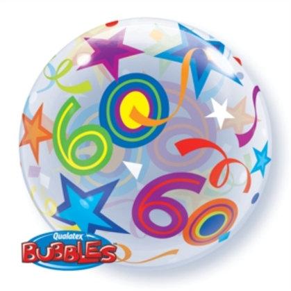 "60th Birthday Bubble Balloon 22"" (Deflated)"