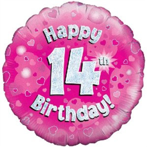 """18"""" Pink Holographic 14th Birthday Foil Balloon"""