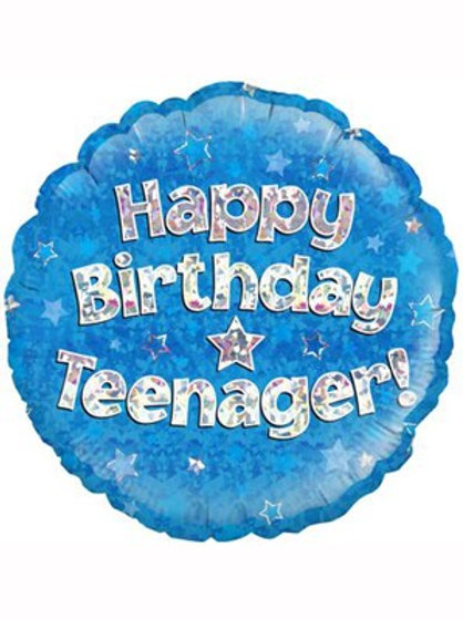 """18"""" Blue Holographic Teenager Foil Balloon"""