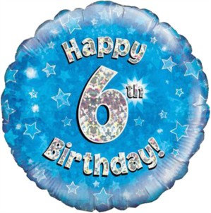 """18"""" Blue Holographic 6th Birthday Foil Balloon"""