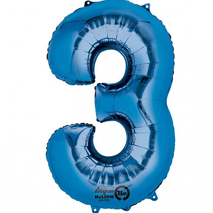 """Blue Number 3 Foil Balloon 34"""" (Deflated)"""