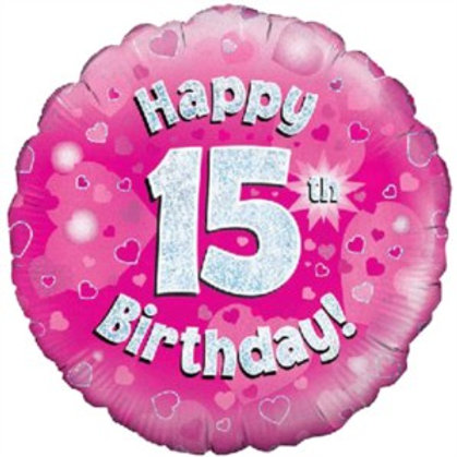 "18"" Pink Holographic 15th Birthday Foil Balloon"