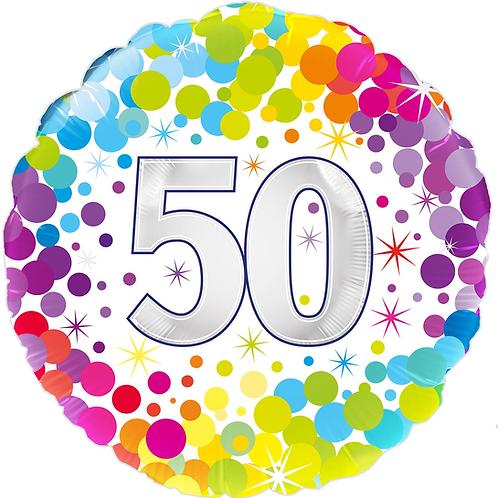 50th Rainbow Dots Foil Balloon (Deflated)