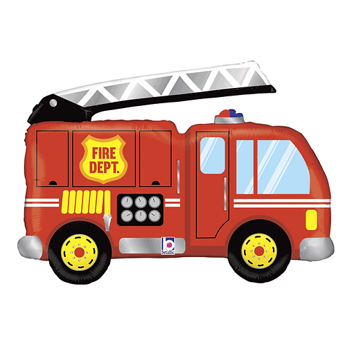 "Fire Engine Truck Supershape 40"" Foil Balloon (Deflated)"