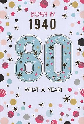 Year You Were Born 80th Birthday Card
