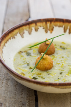 Irish Leek and Cashel Blue Cheese Soup and Fritters